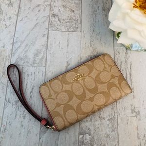 New Pink and Tan Monogram Coach Wallet
